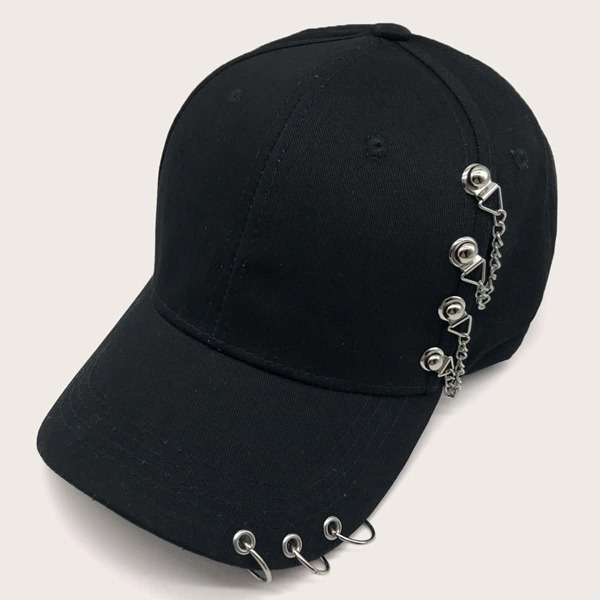 Men Metal Decor Baseball Cap, Black