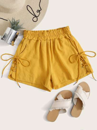 Lace Up Tie Front Shorts