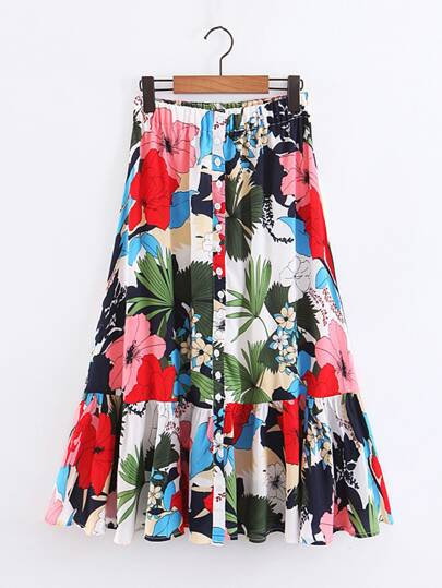 Large Floral Button Front Ruffle Hem Skirt