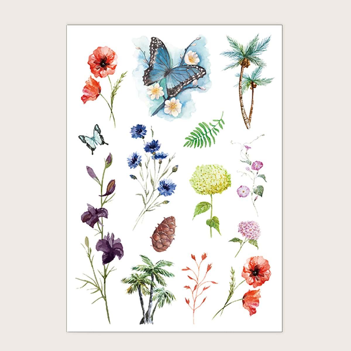 Тату-стикер с узором цветка и бабочки