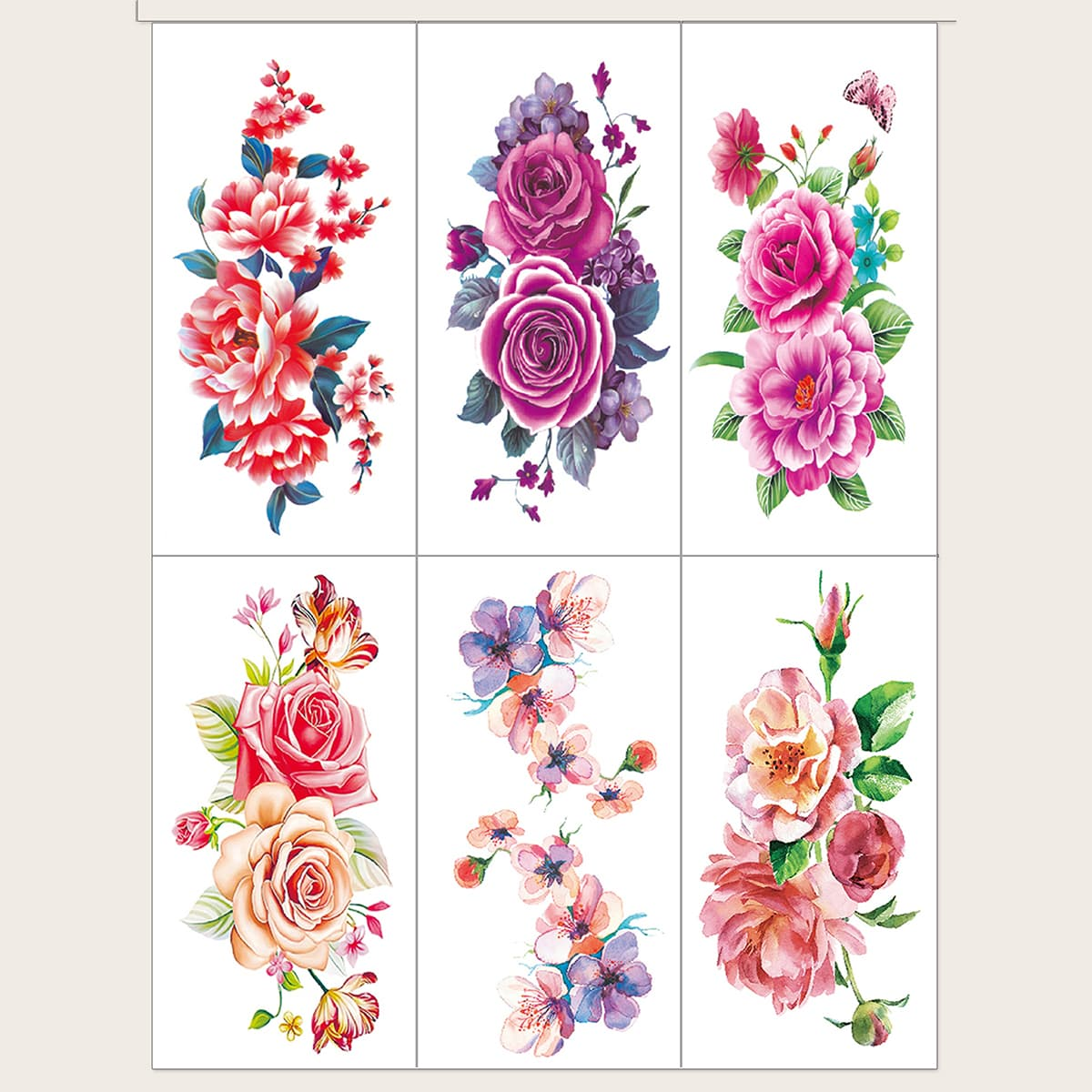 Тату-стикер с цветочным узором 6шт