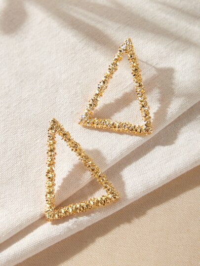 1pair Textured Triangle Stud Earrings