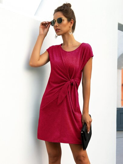 Solid Twist Front Tee Dress