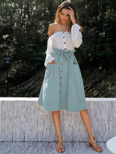 Double Pocket Paperbag Waist Belted Button Skirt
