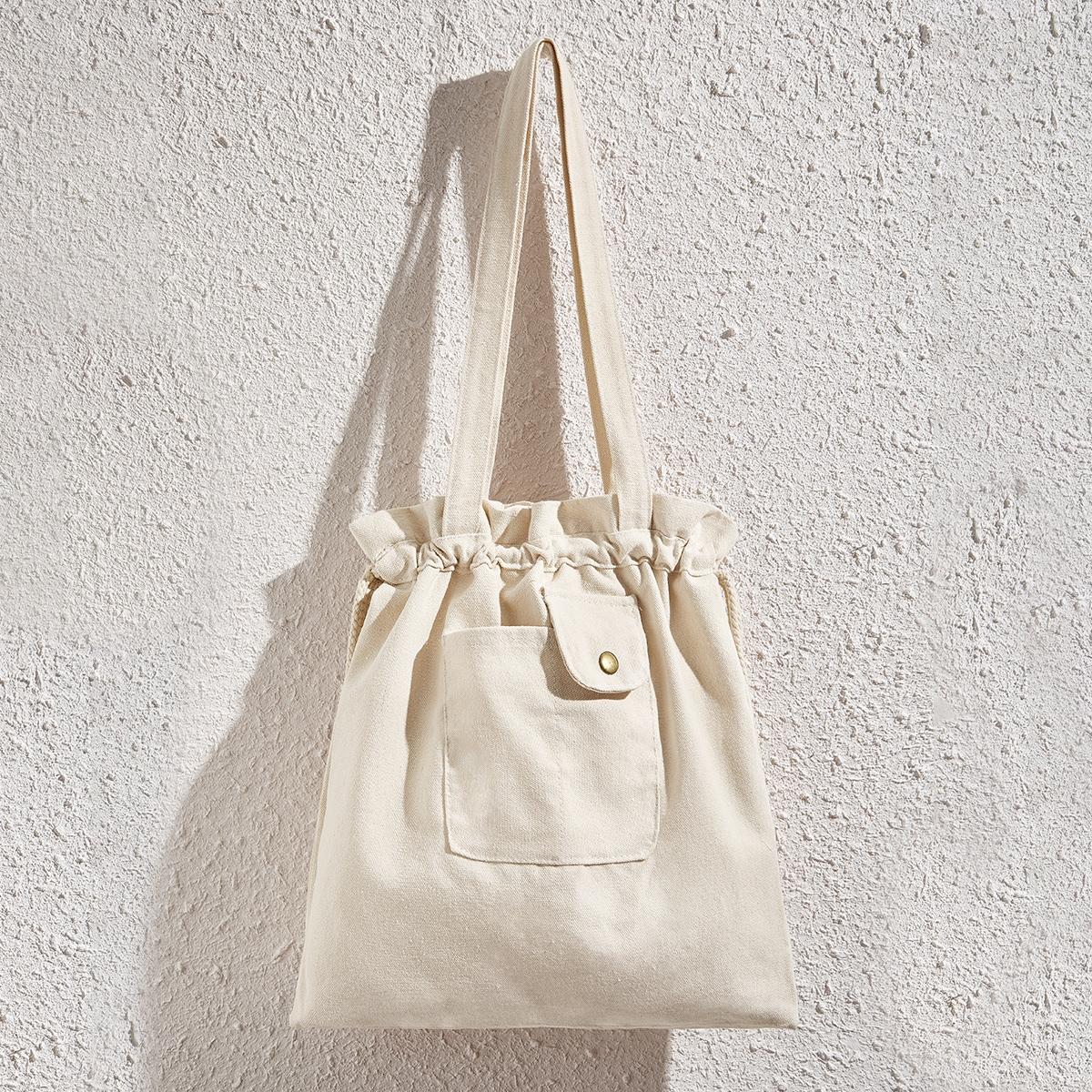 Холщовая сумка-тоут с карманом на кулиске