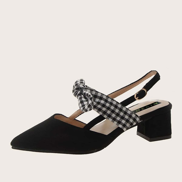 Point Toe Gingham Bow Decor Slingback Heels, Black