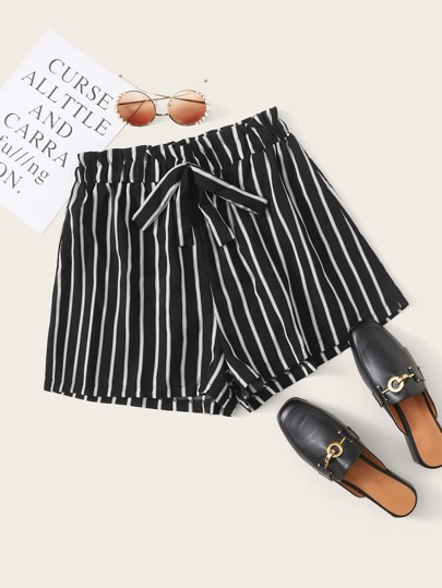 Striped Tie Front Paperbag Waist Shorts