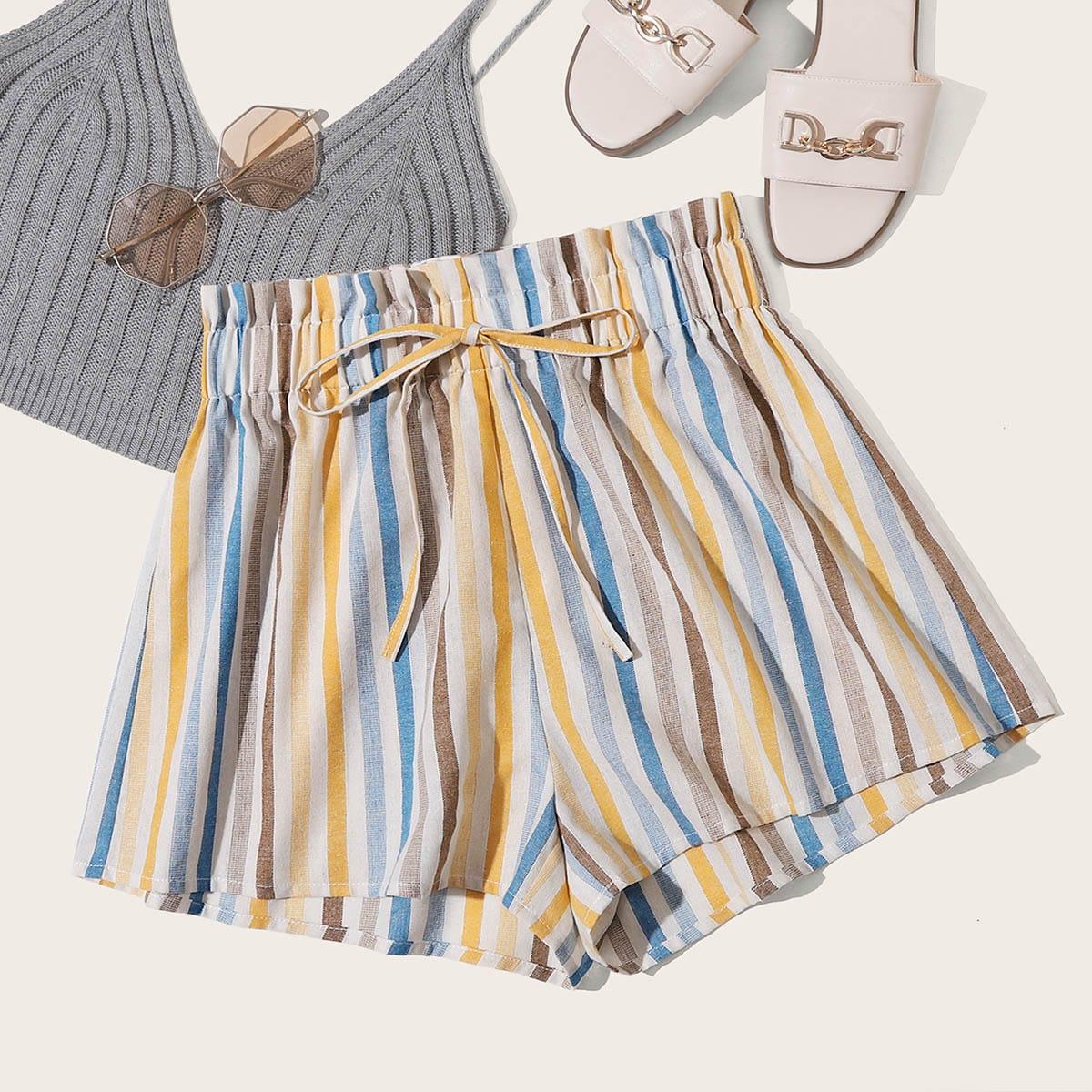 Полосатые шорты с присборенной талией