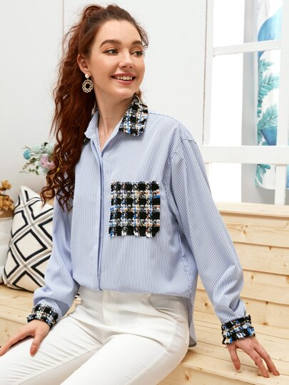 Contrast Tweed Panel Striped Blouse