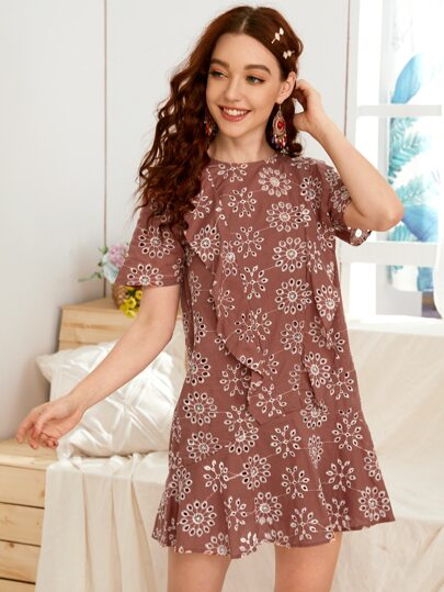 Eyelet Embroidery Ruffle Trim Smock Dress