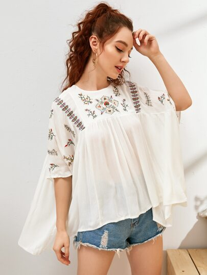 Plants Embroidery Batwing Sleeve Babydoll Blouse