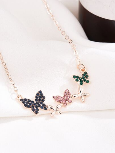 1pc Rhinestone Engraved Butterfly Decor Necklace