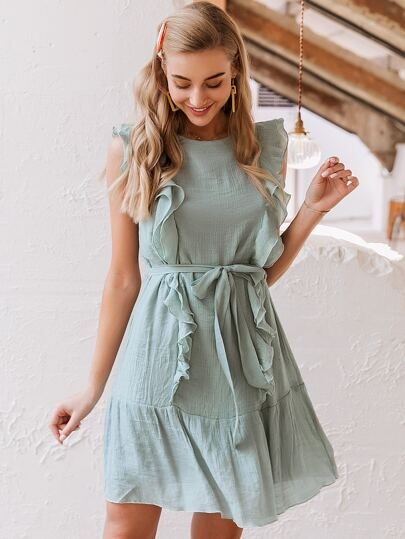 Simplee Ruffle Trim Belted Crinkle Dress