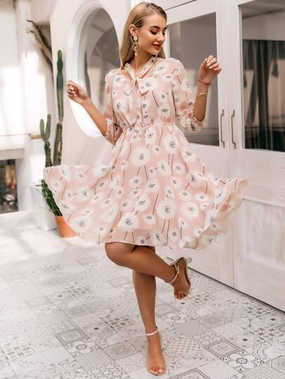 Simplee Tie Neck Floral A-line Dress