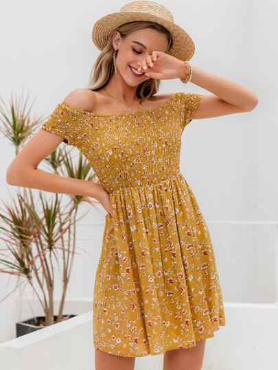 Simplee Off Shoulder Shirred Bodice Floral Dress