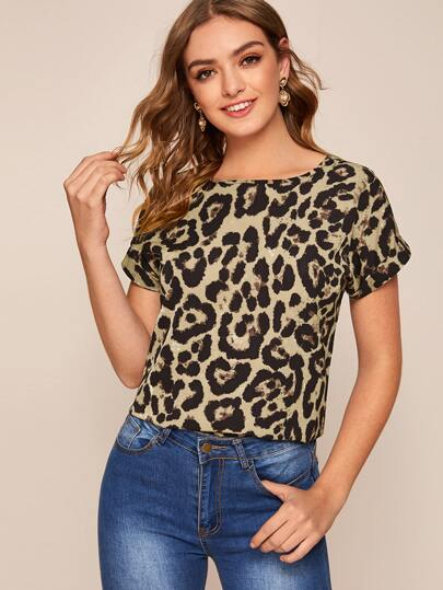 Leopard Round Neck Rolled Cuff Blouse
