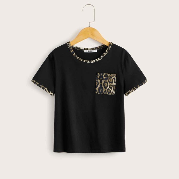 Girls Contrast Leopard Panel Pocket Patched Tee, Black