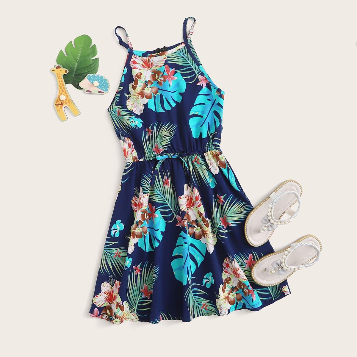 Vielfarbig Knoten  Tropisch  Böhmisch Mädchen Kleider