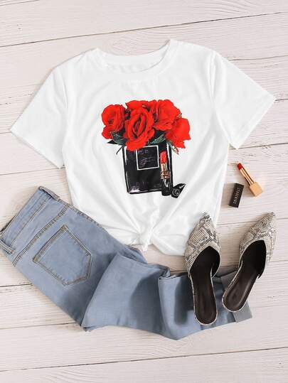 Floral And Lipstick Print Tee