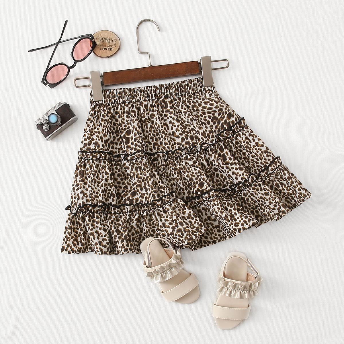 Mädchen Rock mit Rüschenbesatz und Leopard Muster