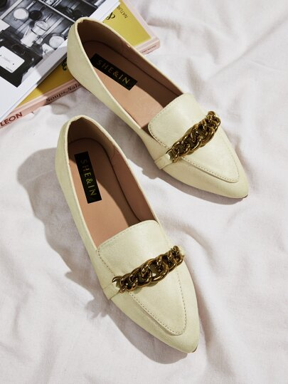 Chain Decor Point Toe Suede Flats