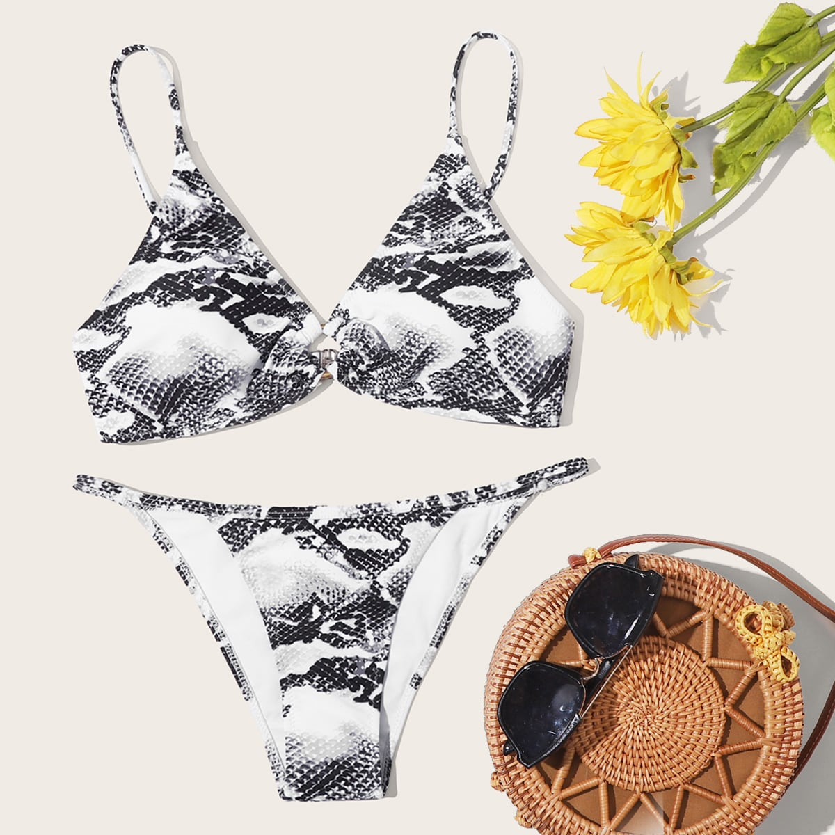Snakeskin Ring Linked Tanga Bikini Swimsuit thumbnail