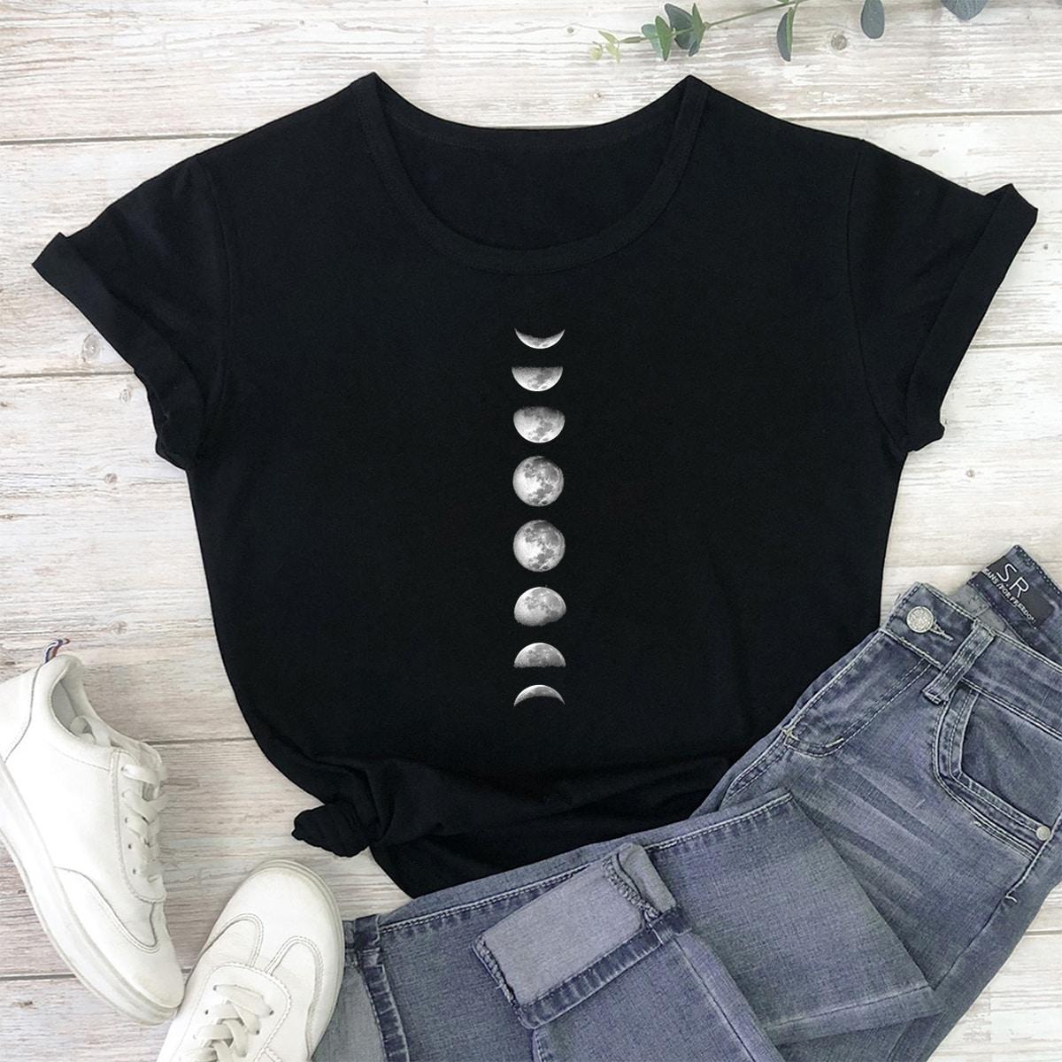 Zwart Casual Geometrisch T-shirt
