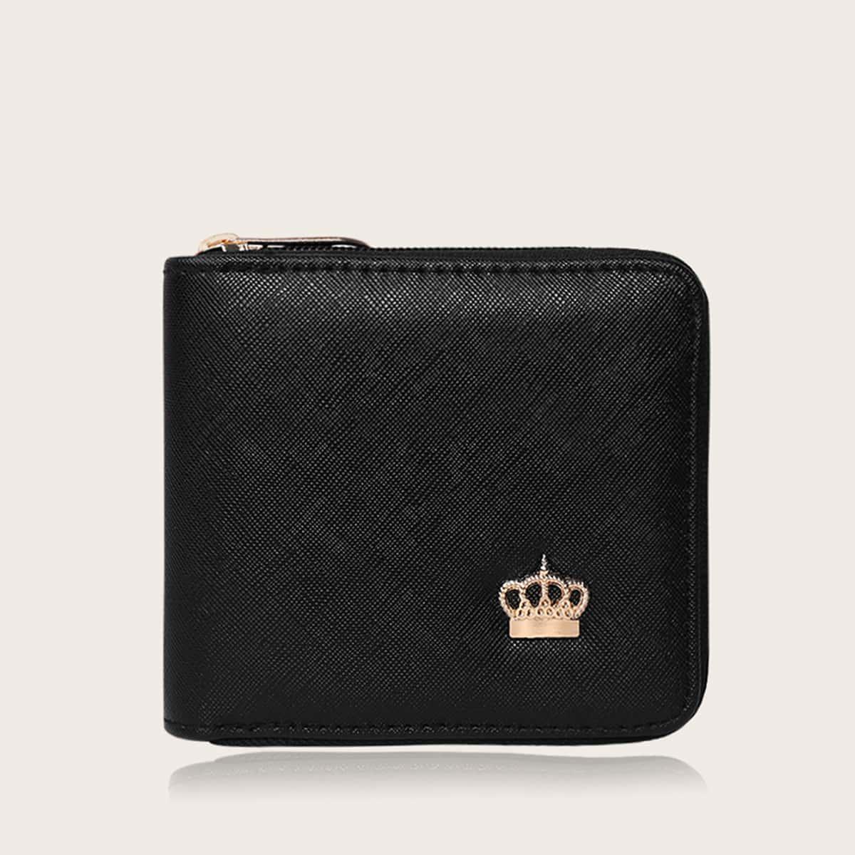 Crown Detail Zip Around Purse