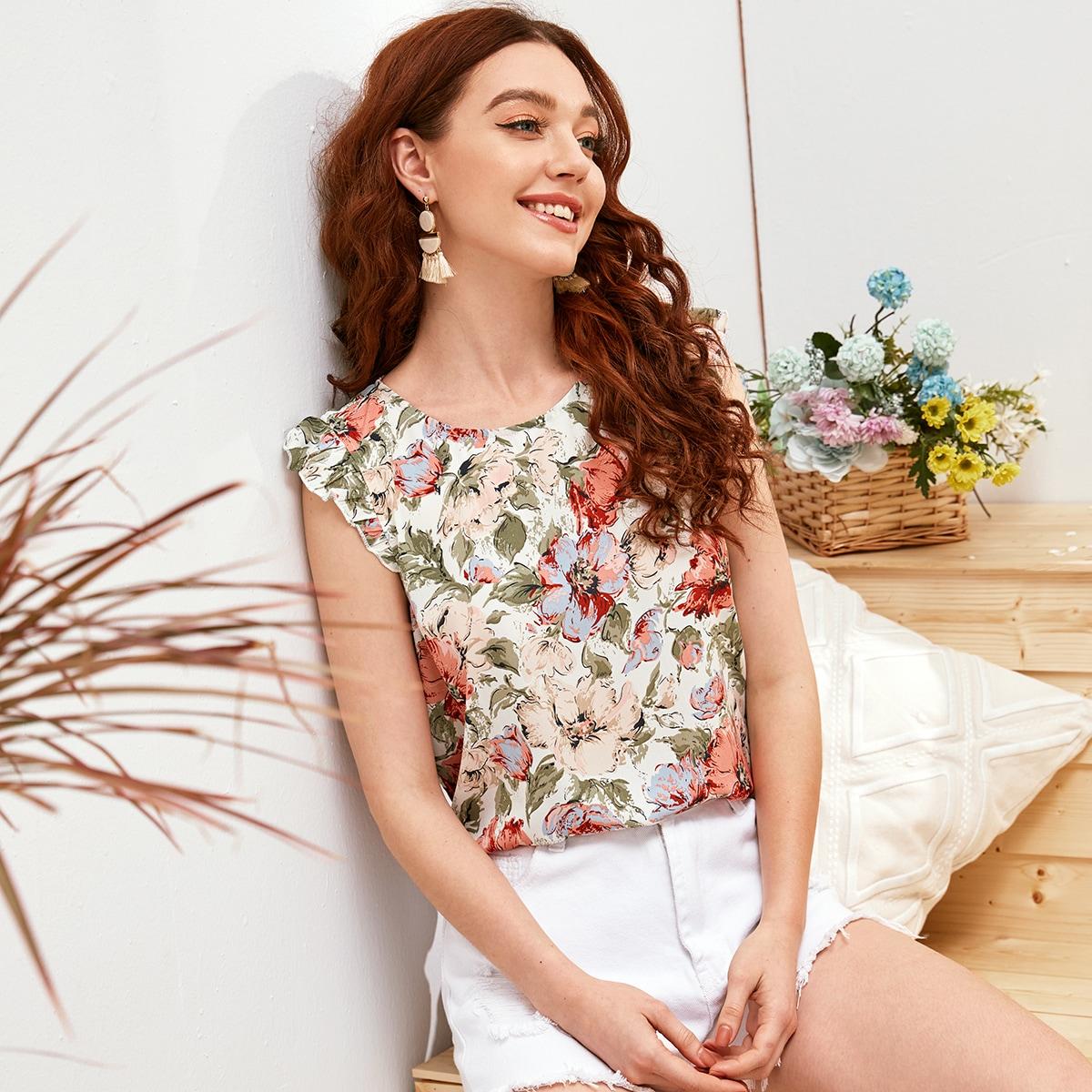 Цветочная блузка с застежкой сзади и оборками