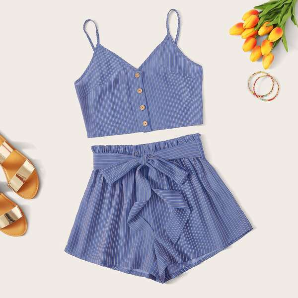 Buttoned Front Striped Cami Top & Paperbag Waist Shorts Set, Blue