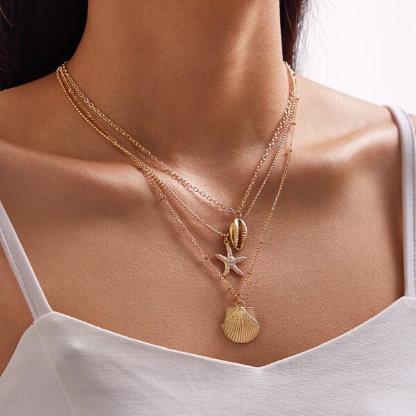 1pc Shell & Starfish Charm Layered Necklace, Gold