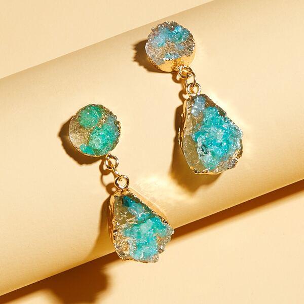 1pair Stone Charm Drop Earrings, Blue