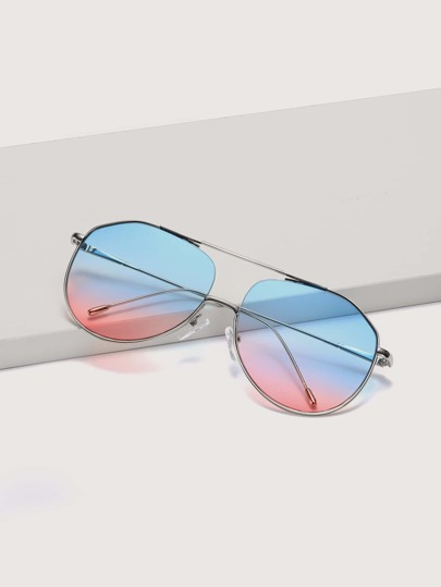 Top Bar Metal Frame Gradient Sunglasses With Case