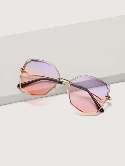 Geometric Shaped Rimless Sunglasses With Case