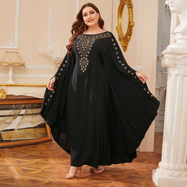 Plus Rhinestone Front Batwing Cape Dress, Black