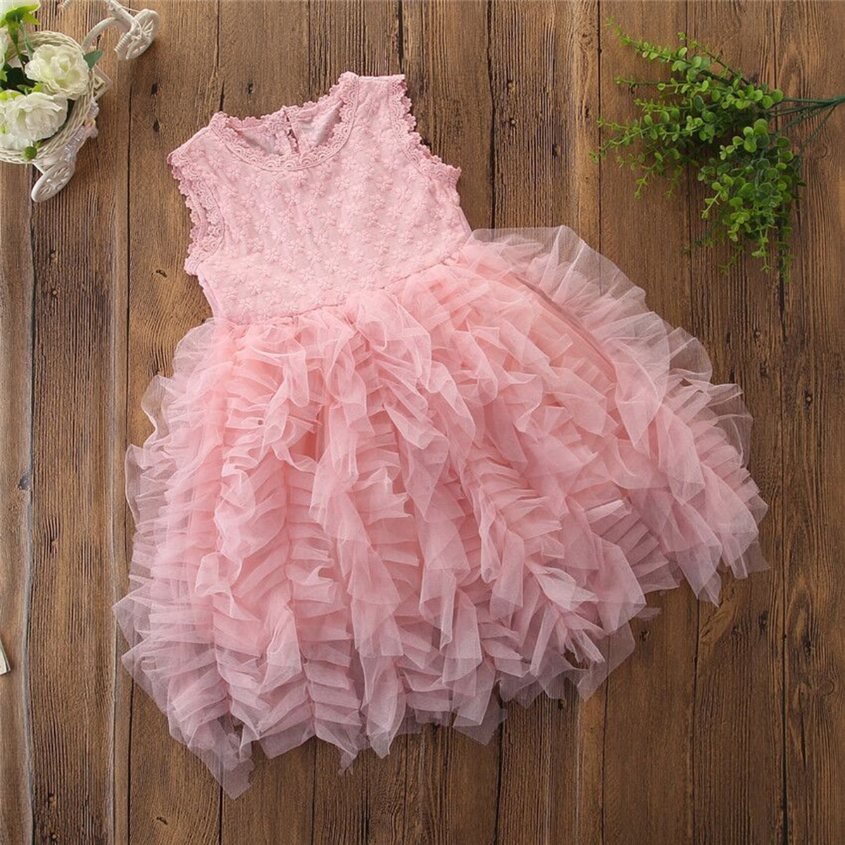 Toddler Girls Tie Back Exaggerated Ruffle Tulle Dress