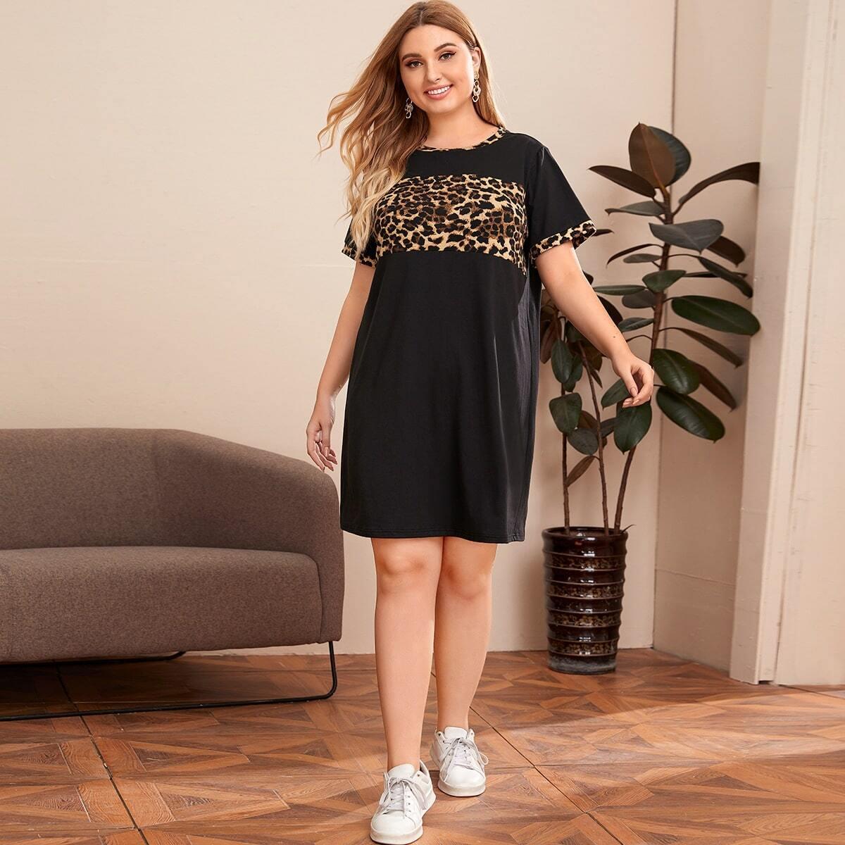 Контрастное леопардовое платье-футболка размера плюс