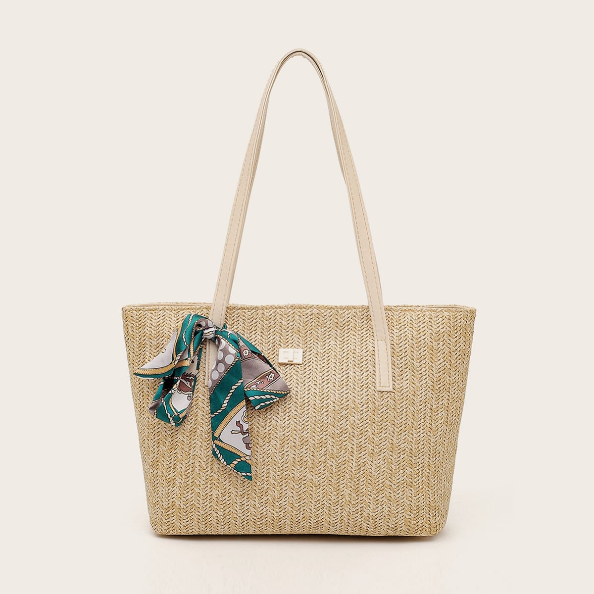 Плетеная сумка-тоут с декором