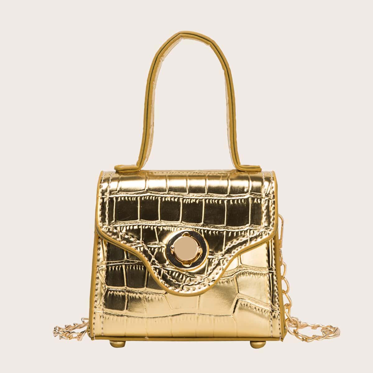 Рельефная сумка-сэтчел мини