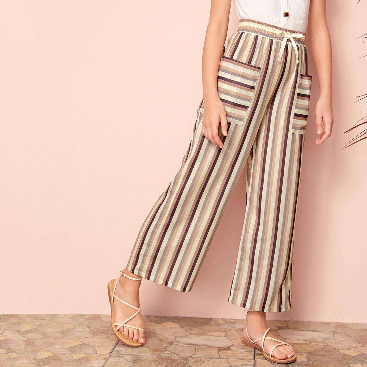 Полосатые брюки с карманом для девочек