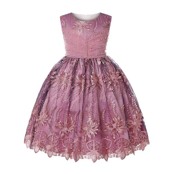 Toddler Girls Floral Embroidered Mesh Pearls Dress, Pink