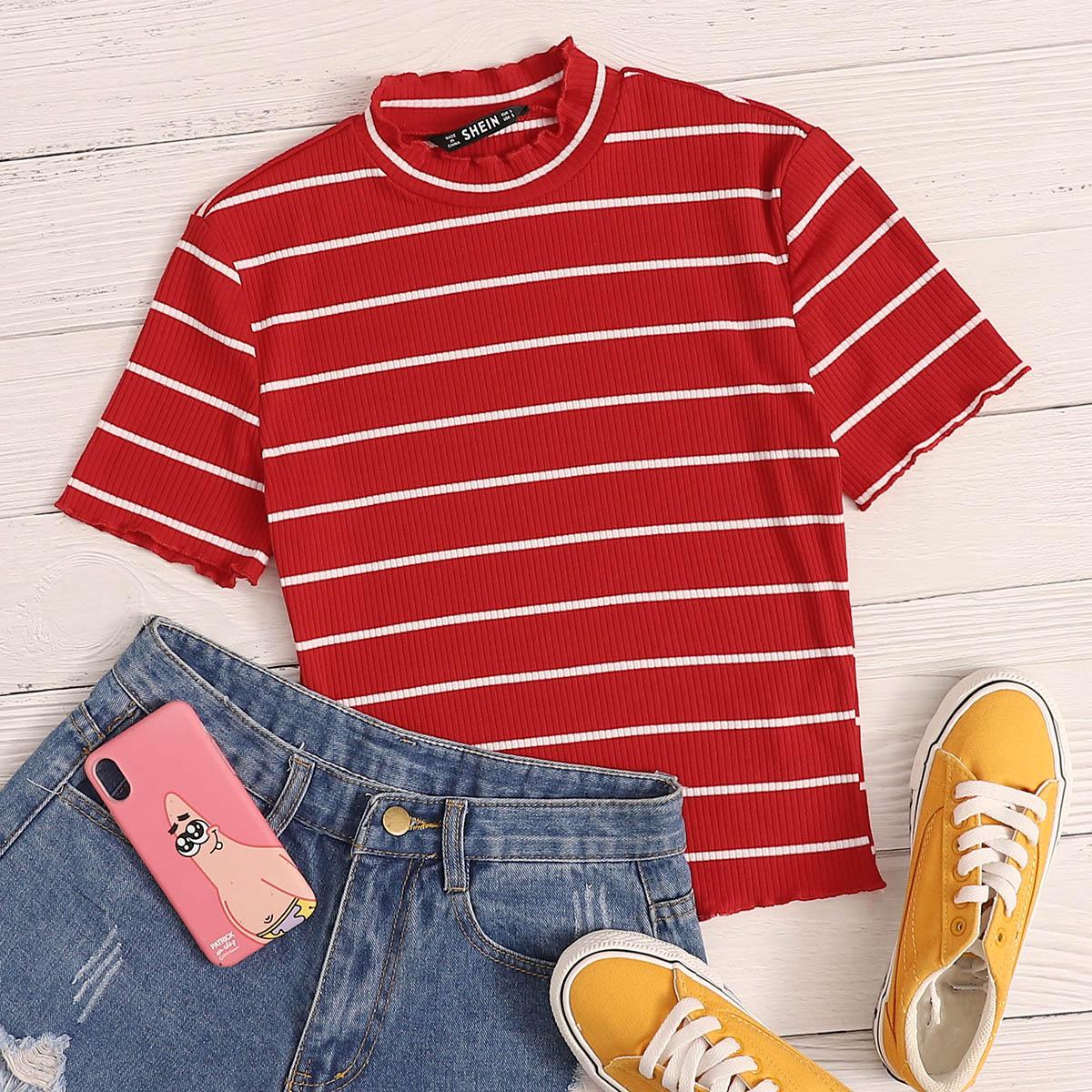 Rood Casual Gestreept T-shirt Plooiingen