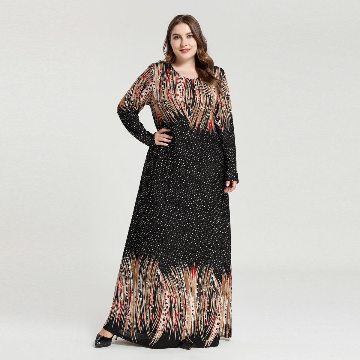 Макси платье в горошек с принтом размера плюс