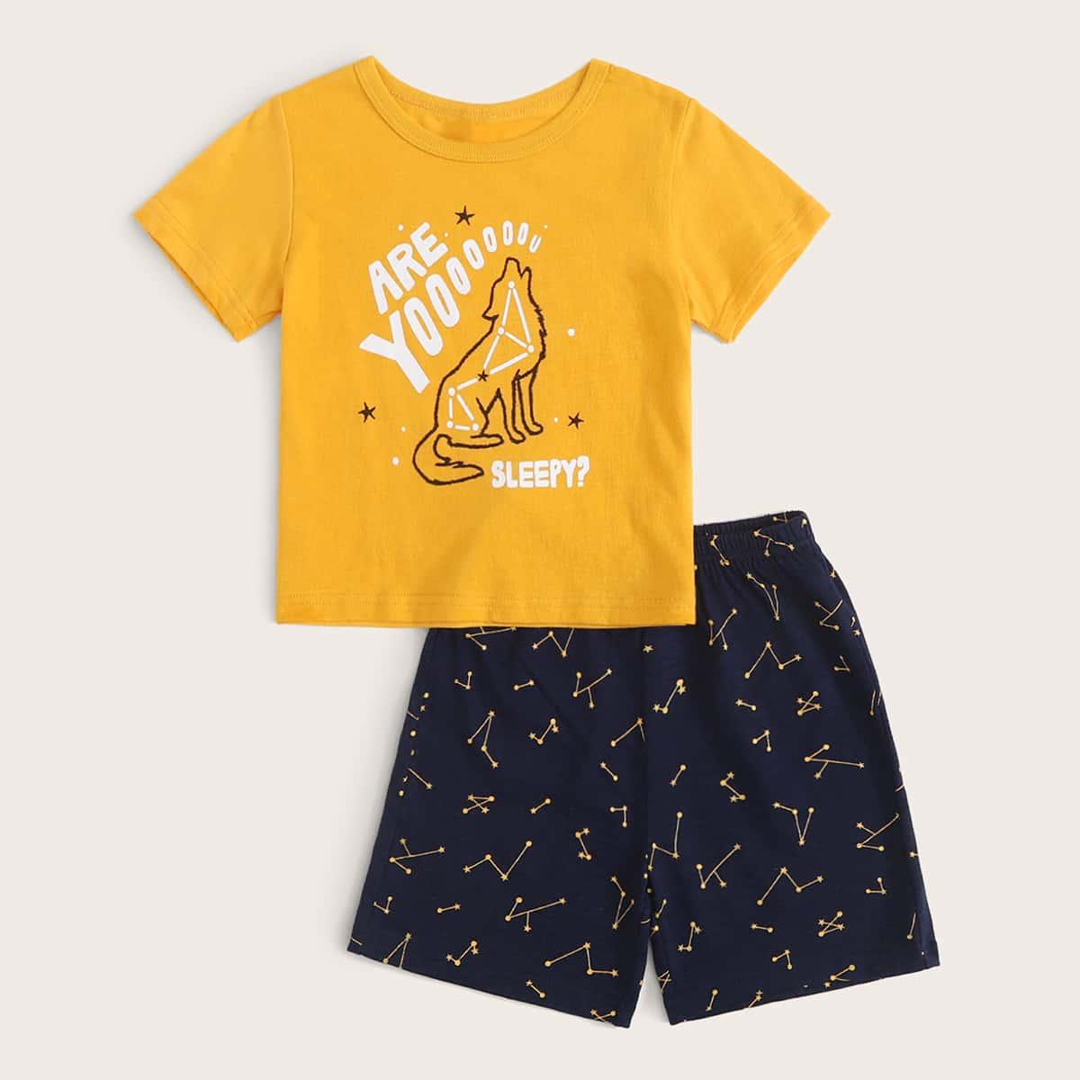 Пижама с текстовым и геометрическим принтом для мальчиков