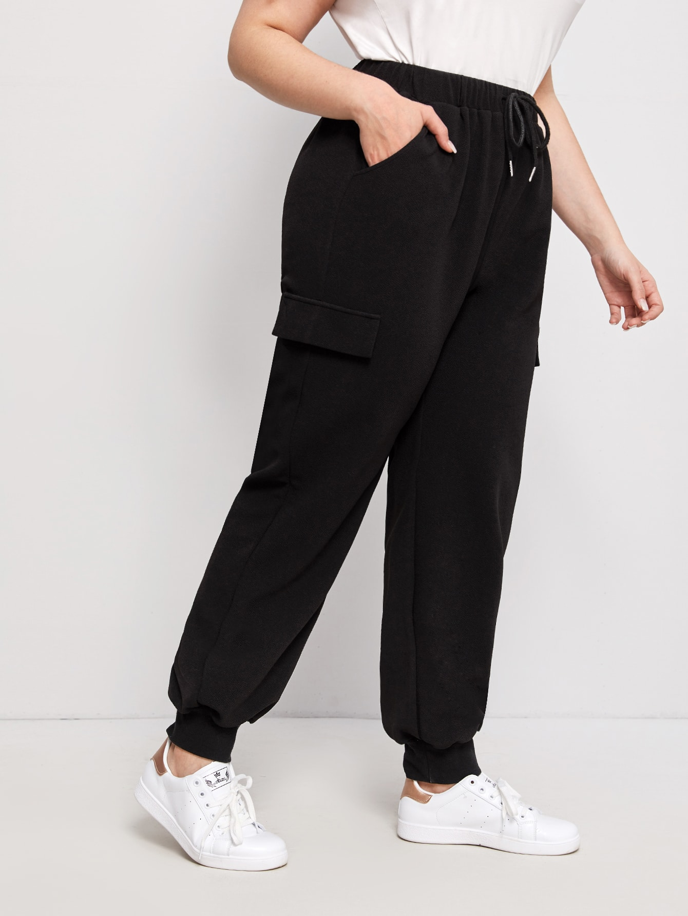 Plus Drawstring Waist Slant Pocket Sweatpants thumbnail
