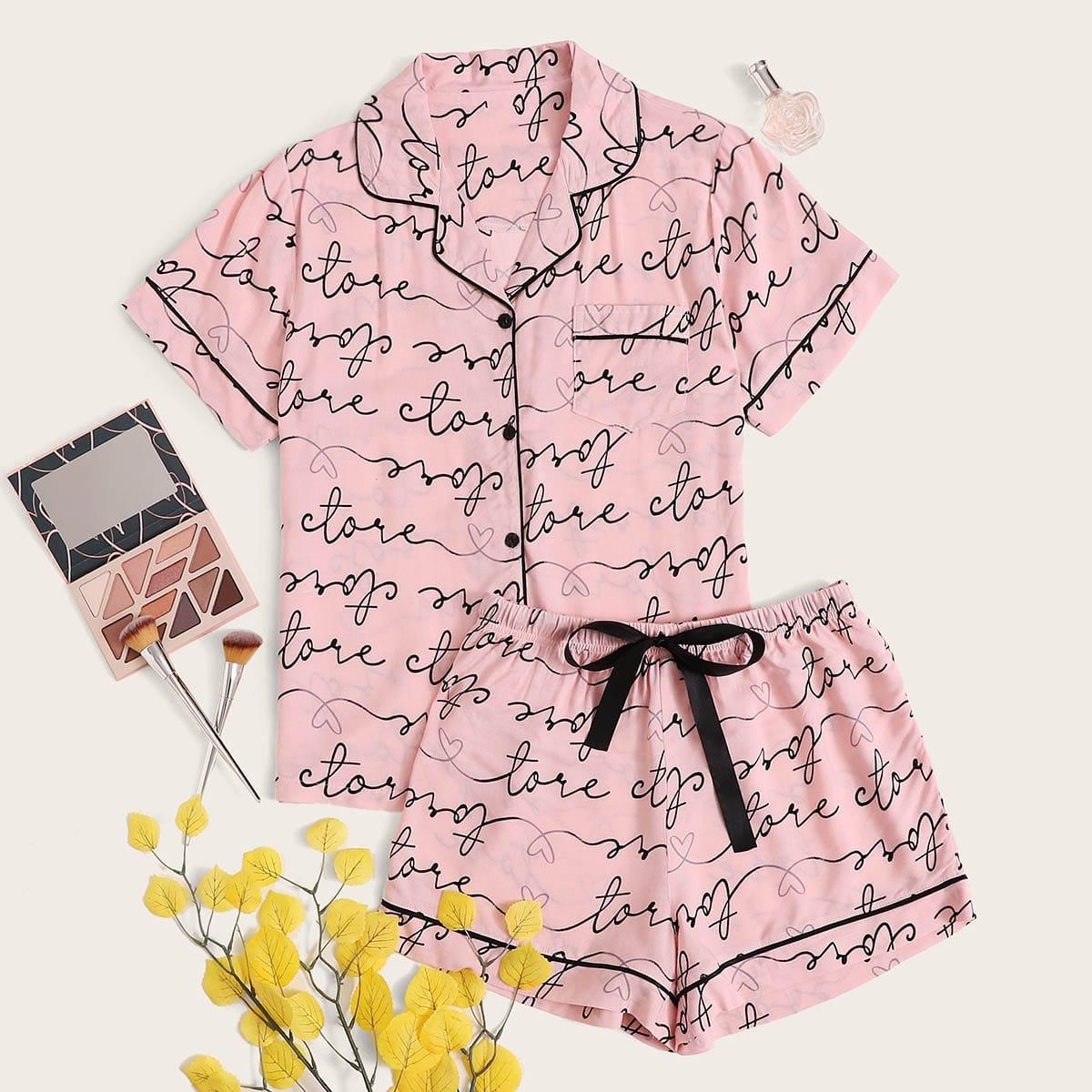 Пижама с контрастной отделкой и текстовым принтом