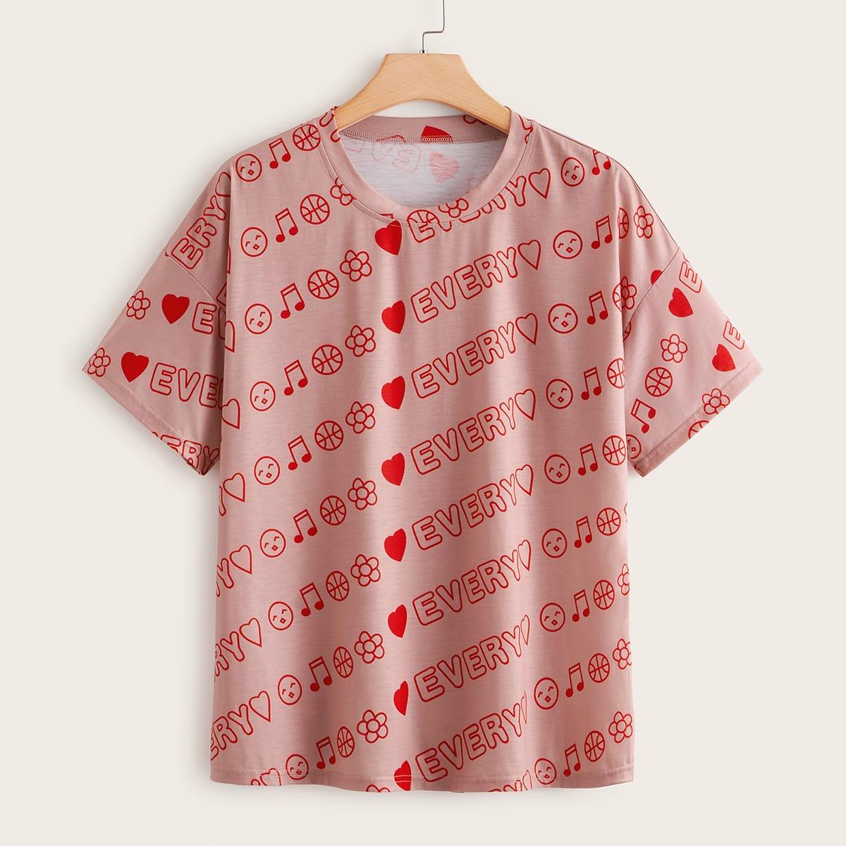 shein Roze  Casual Tekst Grote maat t-shirt