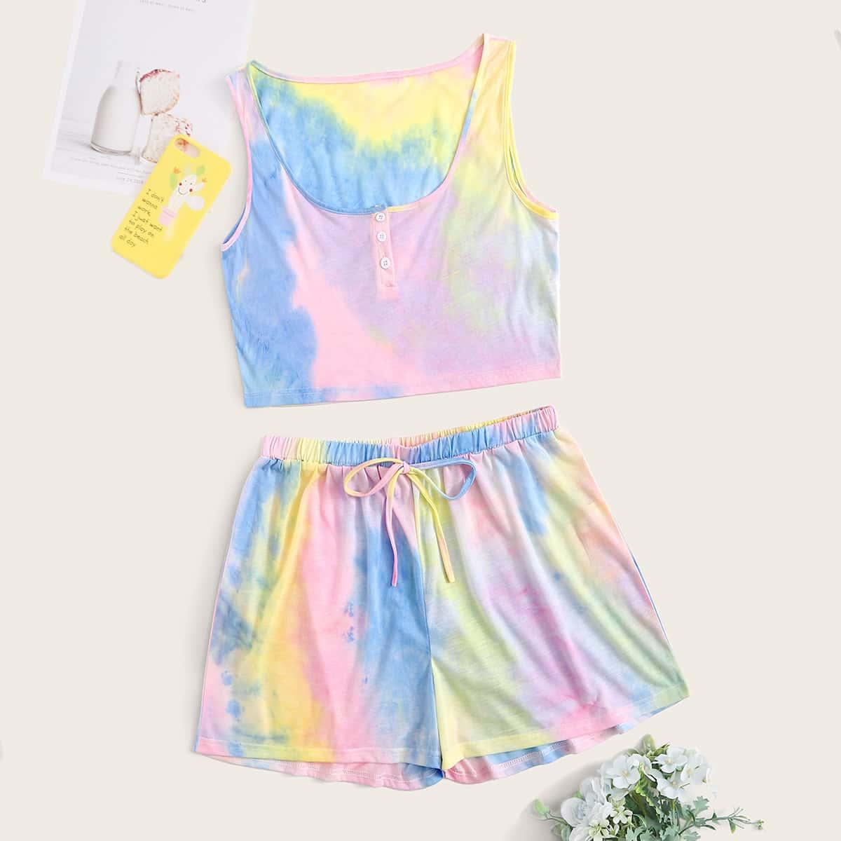 shein Veel kleurig Schattig Tie dye Grote maten pyjama sets Knoop Vooraan