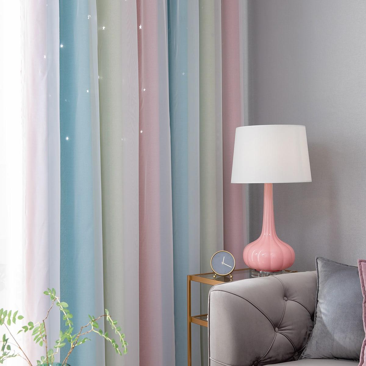 1 Stück Vorhang mit Streifen Muster