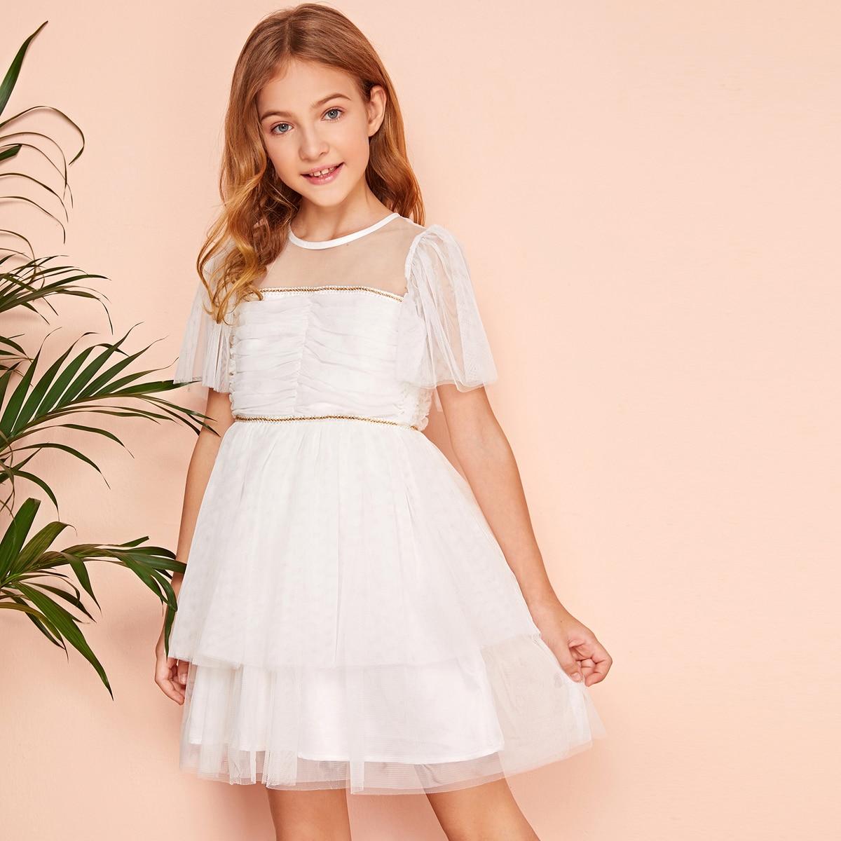 Сетчатые платье со складкой и плетеной лентой для девочек